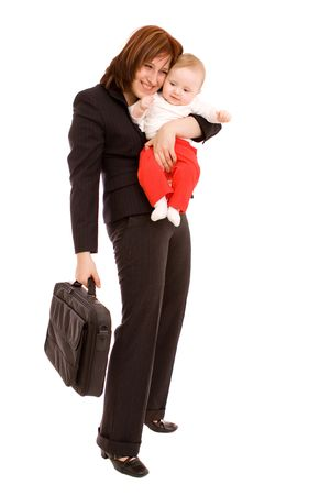 working mother: Businesswoman with baby on white