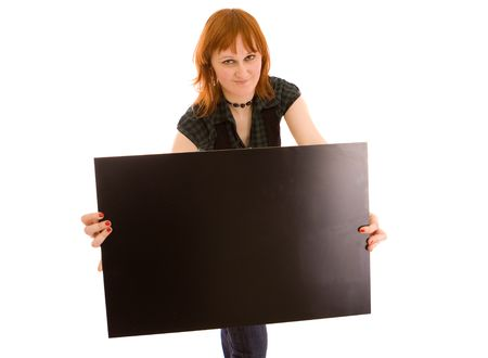 Woman holding black banner on white Stock Photo - 4798952