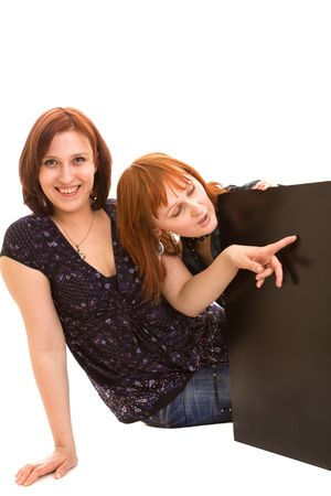 freinds with banner on white Stock Photo - 4815514