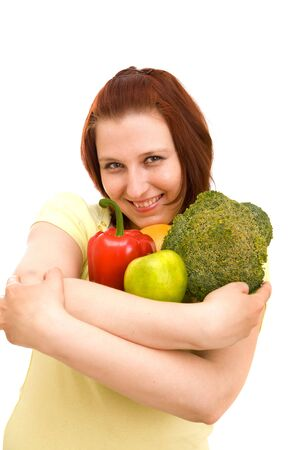 Woman eating vegetables on white background Stock Photo - 4845868