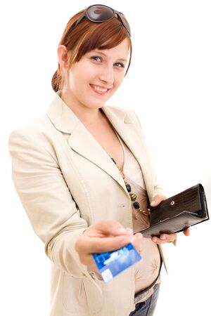 Young brunette woman paying for shopping Stock Photo - 5190927