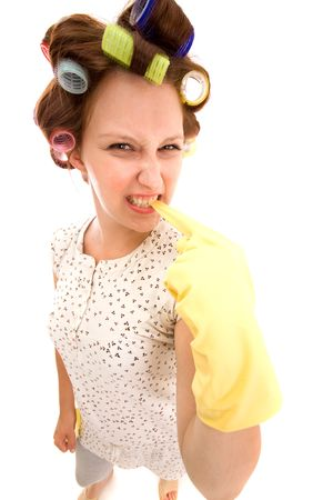 Angry housewife on a white background Stock Photo - 5494030