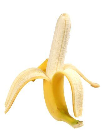 soyulmuş: Peeled banana on white background Stok Fotoğraf