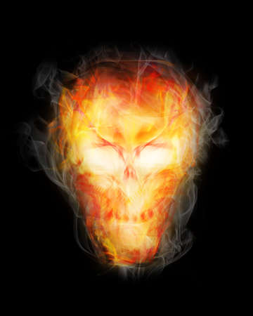 flaming skull - halloween decoration Stock Photo - 7680706