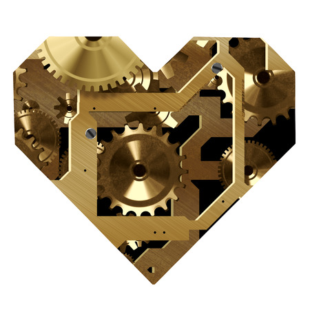 pacemaker: A clockwork heart shape  Stock Photo