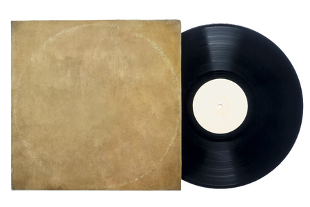 record label: Retro Long Play Vinyl Record with sleeve on a white background with copy space