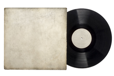 Image of a vinyl long play record with sleeve on a white background with space for copy