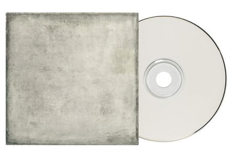 Dvd cd with a grungy, white sleeve on a white background and copy space  Stock Photo