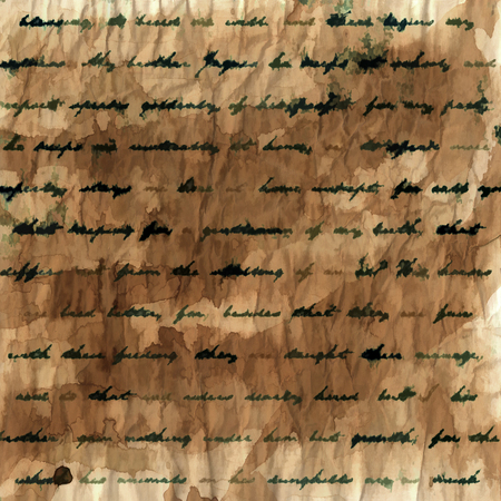 yellowed: Smudged handwriting on old,crumpled and stained paper background.