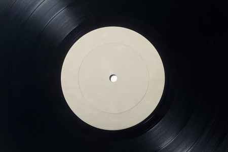 Closeup of Vinyl Long Play Record with Label with Copy Space. Stock fotó