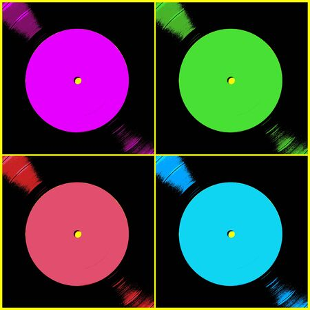 vinyl record: Digital illustration of four vinyl record labels with space for copy.