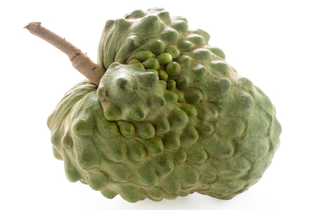 chirimoya: Custard apple with stem against a white background.