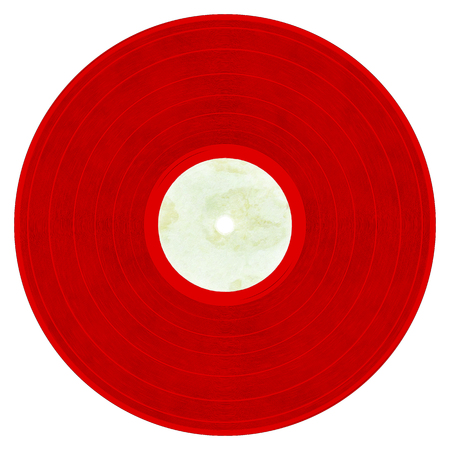 Illustration of a red vinyl record with label on a white background.