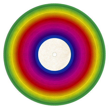 Illustration of a rainbow colored vinyl record on a white background. Stock Photo