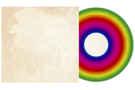 Illustration of a vinyl record with rainbow colors and a textered sleeve with room for copy on a white background.