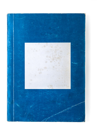 Old blue and white paperback book Stock Photo