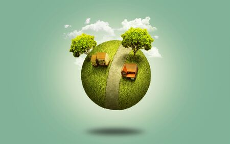 concepts and ideas: little earth and the power of imagination Stock Photo