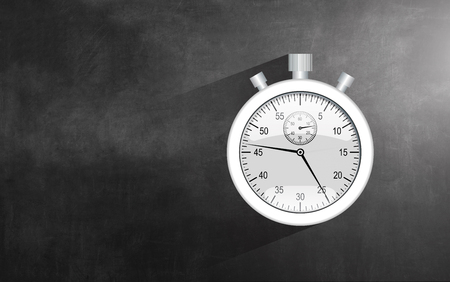 clock: Detailed realistic stopwatch, isolated on chalkboard background. Stock Photo