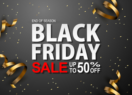 Black friday sale text, glitter and ribbons gold on black background Illustration
