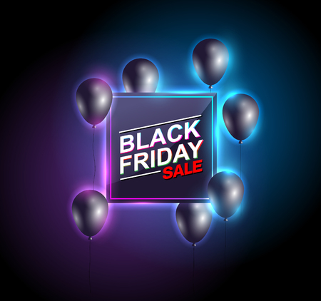 Black friday sale neon with balloon vector banners. illustration.