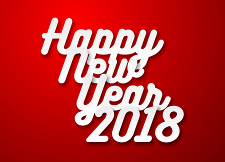 Happy New Year 2018 text design. White paper type on red background. Vector illustration. Illustration