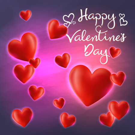 Valentines Day, text love on 3D Heart and neon glow on a abstract background, Vector