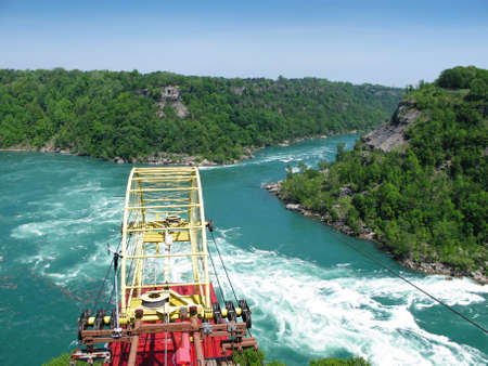 niagara river: Cable Car Over the Whirlpool on Niagara River, Ontario, Canada Stock Photo