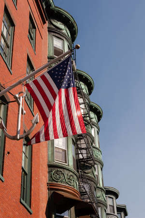 north end: North End architecture in Boston, Massachusetts with blue sky background