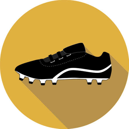Generic Black Football boot on yellow background icon graphic