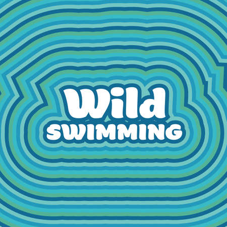 Wild open water sea swimming graphic with concentric stripes