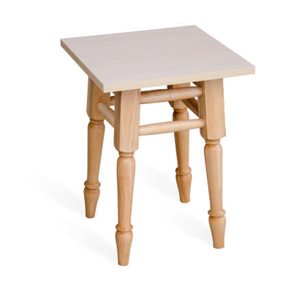 stool: Wooden stool isolated on the white background