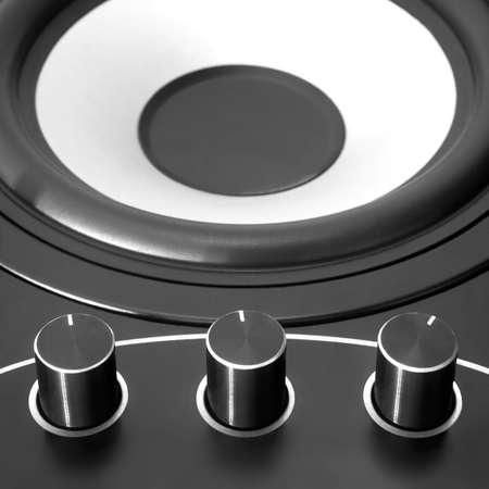 woofer: Black woofer with three dampers and white speaker