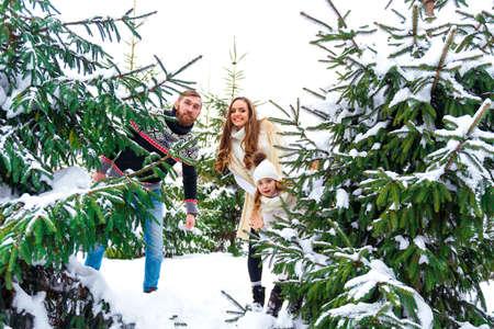 couple winter: happy couple in winter forest near spruce