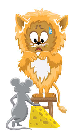 met: Orange lion frightened by mouse is standing on stool