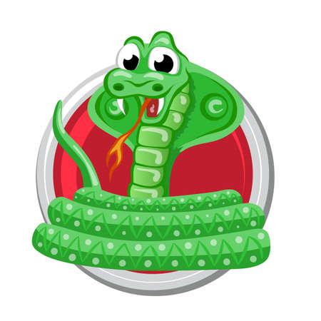year of snake: Snake. Orient horoscope sign isolated in circle. Chinese symbols. Zodiac. Illustration
