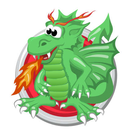 predicting: Dragon. Orient horoscope sign isolated in circle. Chinese symbols. Zodiac. Illustration