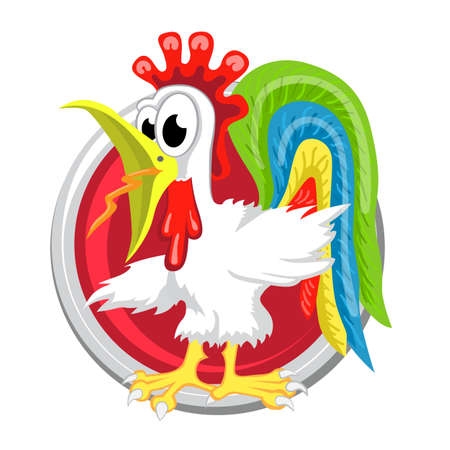 ascendant: Rooster. Orient horoscope sign isolated in circle. Chinese symbols. Zodiac.