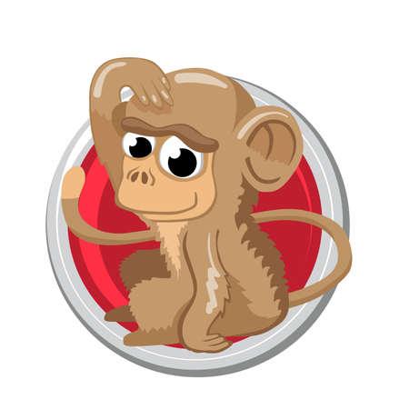 zodiak: Monkey. Orient horoscope sign isolated in circle. Chinese symbols. Zodiac.