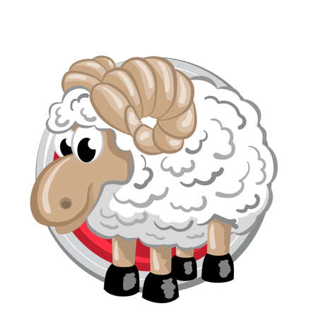Sheep. Orient horoscope sign isolated in circle. Chinese symbols. Zodiac.