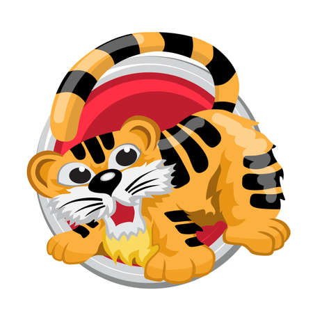 ascendant: Tiger. Orient horoscope sign isolated in circle. Chinese symbols. Zodiac. Illustration
