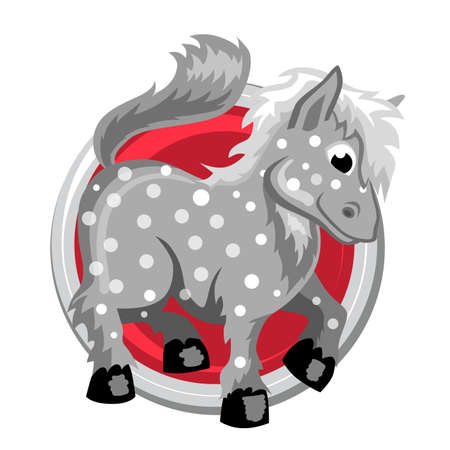 ascendant: Horse. Orient horoscope sign isolated in circle. Chinese symbols. Zodiac.