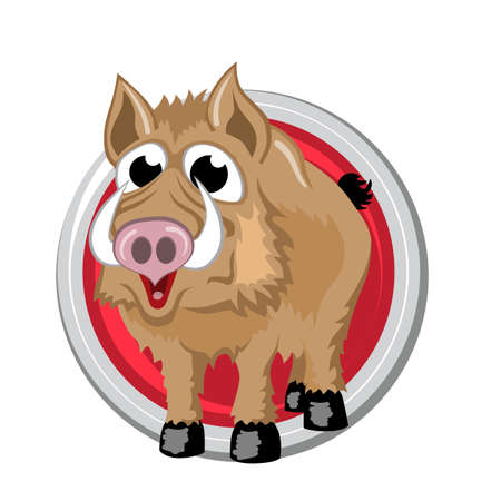 ascendant: Boar. Orient horoscope sign isolated in circle. Chinese symbols. Zodiac.