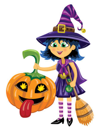 Girl dressed in witch costume holds pumpkin and broom