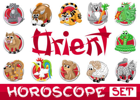 Orient horoscope set. Twelve chinese japanese zodiac signs in red circles isolated Illustration
