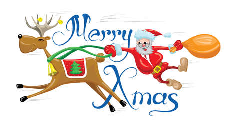 Santa is hanging behind reindeer which running fast. Merry Christmas funny card with riding reindeer. Illustration
