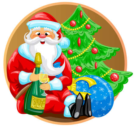Happy Santa is sitting near Christmas tree with bag of gifts and bottle of champagne.