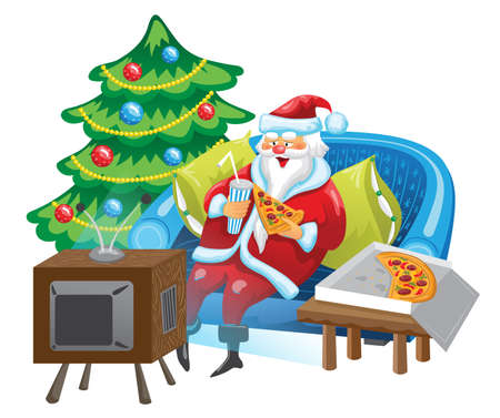 Santa Claus is sitting in front of TV and eating pizza. Santa is watching TV show on a couch near Christmas tree.