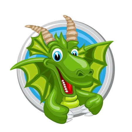 Capricorn. Zodiac sign. Horoscope. Cheerful green dragon with big horns. Illustration