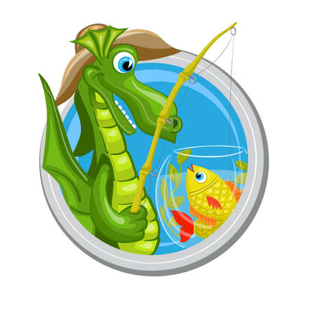 ascendant: Pisces. Zodiac sign. Horoscope. Dragon fisherman is fishing in aquarium with fishes Illustration