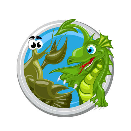 ascendant: Cancer. Zodiac sign. Horoscope. Green dragon is meeting cacer Illustration